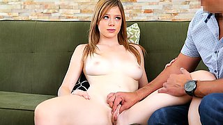 Young fat girl sucks penis at the casting and fingering...