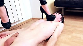 Sub licks Mistress's shoes and even keeps quiet as she