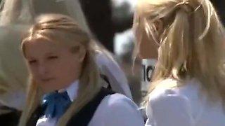 Blonde teen in the bus