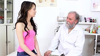 Nasty honey got fucked in her pussy by a concupiscent doctor