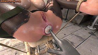 pov 3d femdom interrogates lara croft with baseball bat and balls