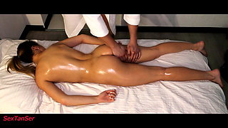 hot blonde gets an orgasm from a dildo during massage
