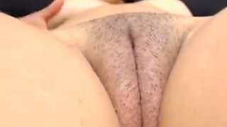 Slightly hairy big fat chubby wet cameltoe pussy