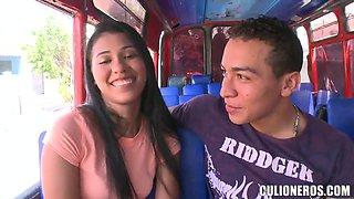 Young latina Carolina gets in to culioneros bus