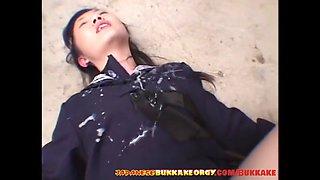 innocent japanese schoolgirl gangbang -japanese bukkake orgy