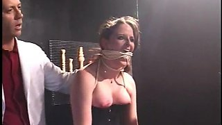 Slave girl gets her tight ass stretched with large toys in closeup