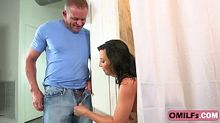 Glorious Lezley Zen sucks her's husband cock and gets banged by her lover