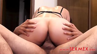 Horny Man Films Busty Mexican Gf Grinding Cock With Pussy