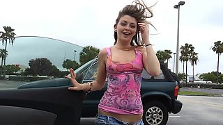 Car flashing babe Staci Silverstone follows him home for sex