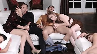 Kitty core blowjob and brunette twin New Year New Swap