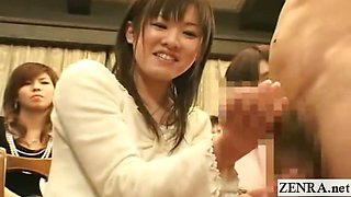 Subtitled CFNM group of Japanese students give handjobs