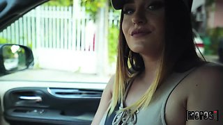 Driver picks up sexy chick Ella Reese and fucks her pussy and deep throat in a car