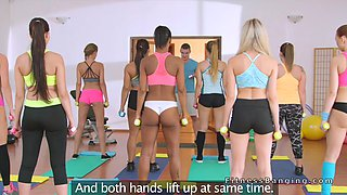 Gym babes in pink hotpants had threesome