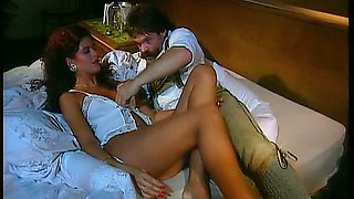 Depraved brunette beauty gets laid with brutal mustached man