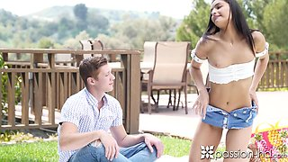Hot girlfriend in shorts Emily Willis gives her head and gets fucked outdoor