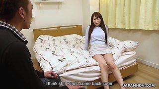 Long haired kawaii Japanese cutie Yui Misaki flashes pubic hair and fucks mish
