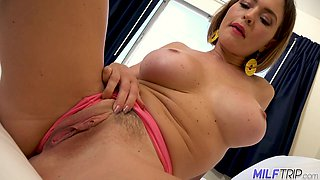 Lovable busty MILF with gorgeous big boobs strips and gets fingered