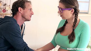 Bosomy pigtailed girlie in glasses let her step father eat her muff a bit