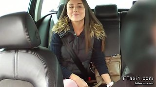 Beautiful girl in panties fucks in fake taxi pov