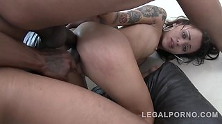 Petite, tattooed babe, Holly Hendrix is enjoying while sucking three monster cocks in a row