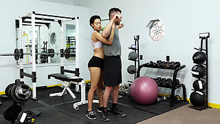 Ebony trainer seducing a white guy
