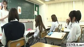 Subtitled Japanese schoolgirls sexual education class