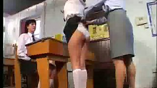 Ruler on bare bottom of schoolgirl samantha