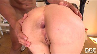 seductive girl gets fucked by two guys at the gym