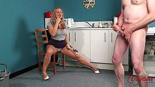 Provocative blonde Beth Bennett watches her man masturbate