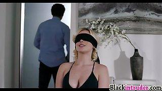 Blonde girlfriend Summer Day is surprised by huge black dick