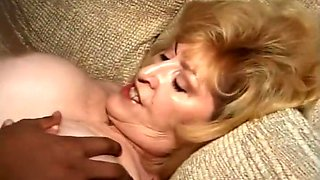 Blond Granny Takes Fat Young Ebony Cock