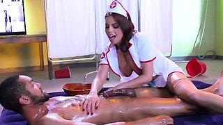 Ravishing sexy nurse helps her well-hung patient