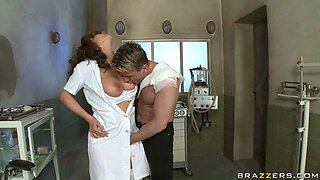 sexy nurse roberta gemma rubbing her clit while stroking his cock with her free hand