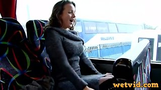 Creamy milf in bus craves for a masturbation time with her fav toys in front of webcam and teasing session