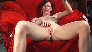 Amateur video of busty mature Lara Latex having solo fun. HD