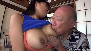 Young Japanese babe with nice ass rides an older dude's dick