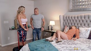 Tasty porn on daughter's boyfriend big dick makes the cougar happy