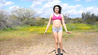 Watch sexy stranger Leda as she strips in a car and outdoors