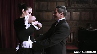 Attractive maid Paige Turnah opens her legs for a heavy prick