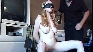 Large milk cans chick has her bawdy cleft teased by an aged fellow