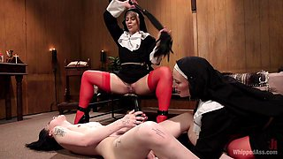 Mona Wales & Helena Locke & Charlotte Sartre in Anal Initiation: Aspiring Nun Gets Beaten & Fucked - WhippedAss
