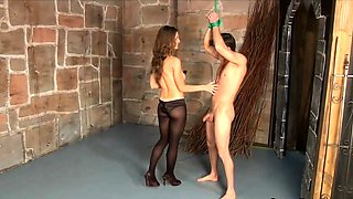 Busty dominatrix in pantyhose teases and pleases a stiff rod