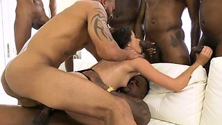 Interracial group babe gets face bukkaked