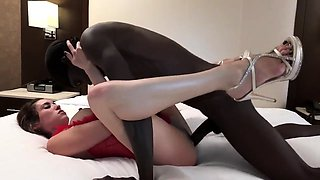 Black monster cock plows the shaven hole of sexy whitey