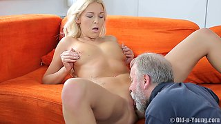 Blonde wife Karol_Lilien fucked by a next door neighbor - Old vs Young
