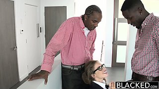 BLACKED Teen Threesome with Two Monster Dicks