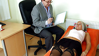 Horny doctor examins his patients wet pussy