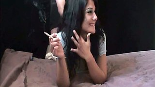 Smoking hot brunette bitch with natural tits refused to do anything on cam
