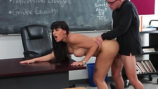 Fine minx with long hair is getting naked and fucked on the desk