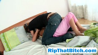 Striking step sister gets roughly abused by a step bro who could not wait much longer to bang her